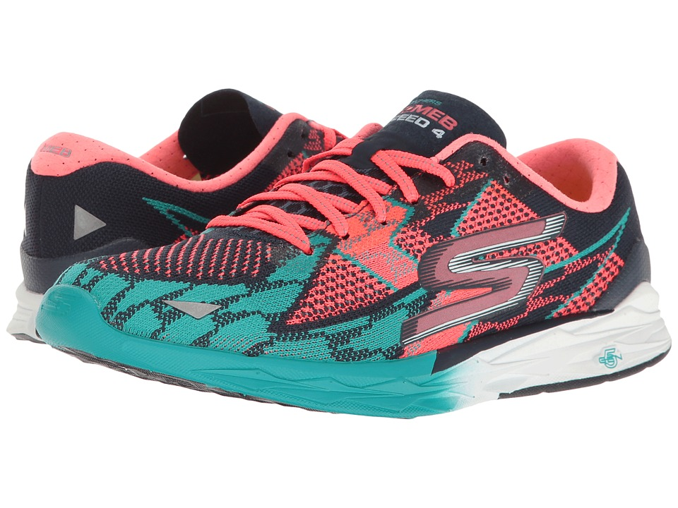 SKECHERS - Go Meb Speed 4 (Navy/Hot Pink) Women's Running Shoes