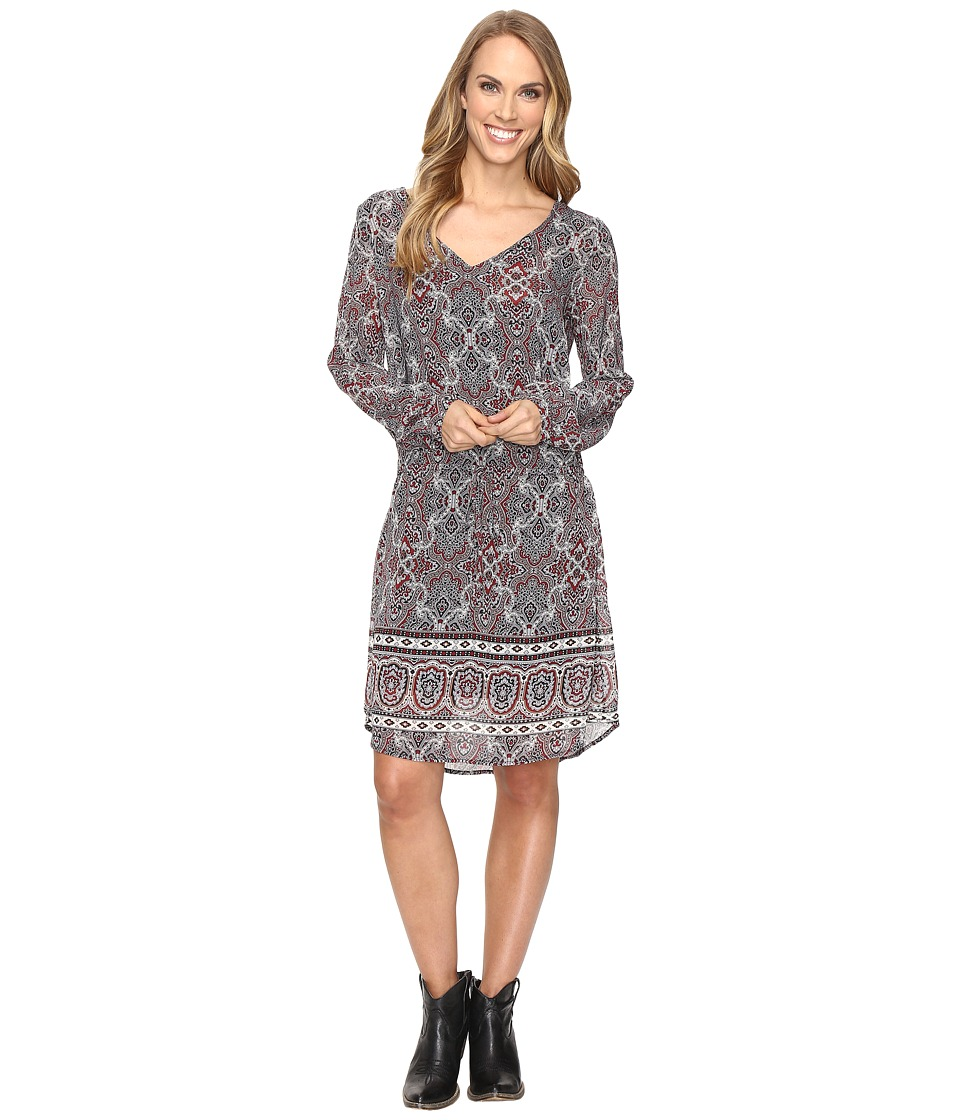 Stetson - Gypsy Border Chiffon Dress (Grey) Women's Dress
