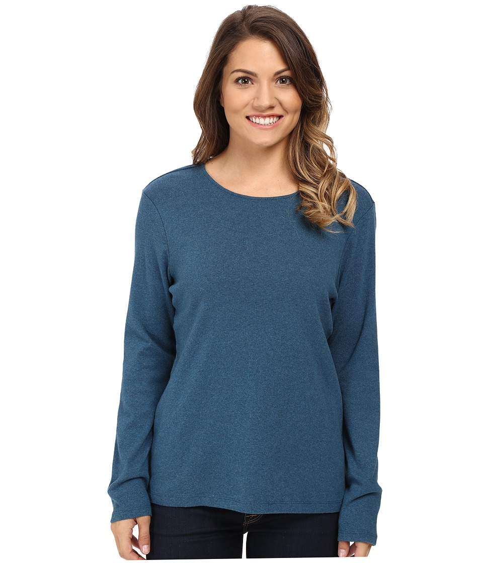 Pendleton - Petite L/S Jewel Neck Cotton Rib Tee (Night Sky Heather) Women's Long Sleeve Pullover