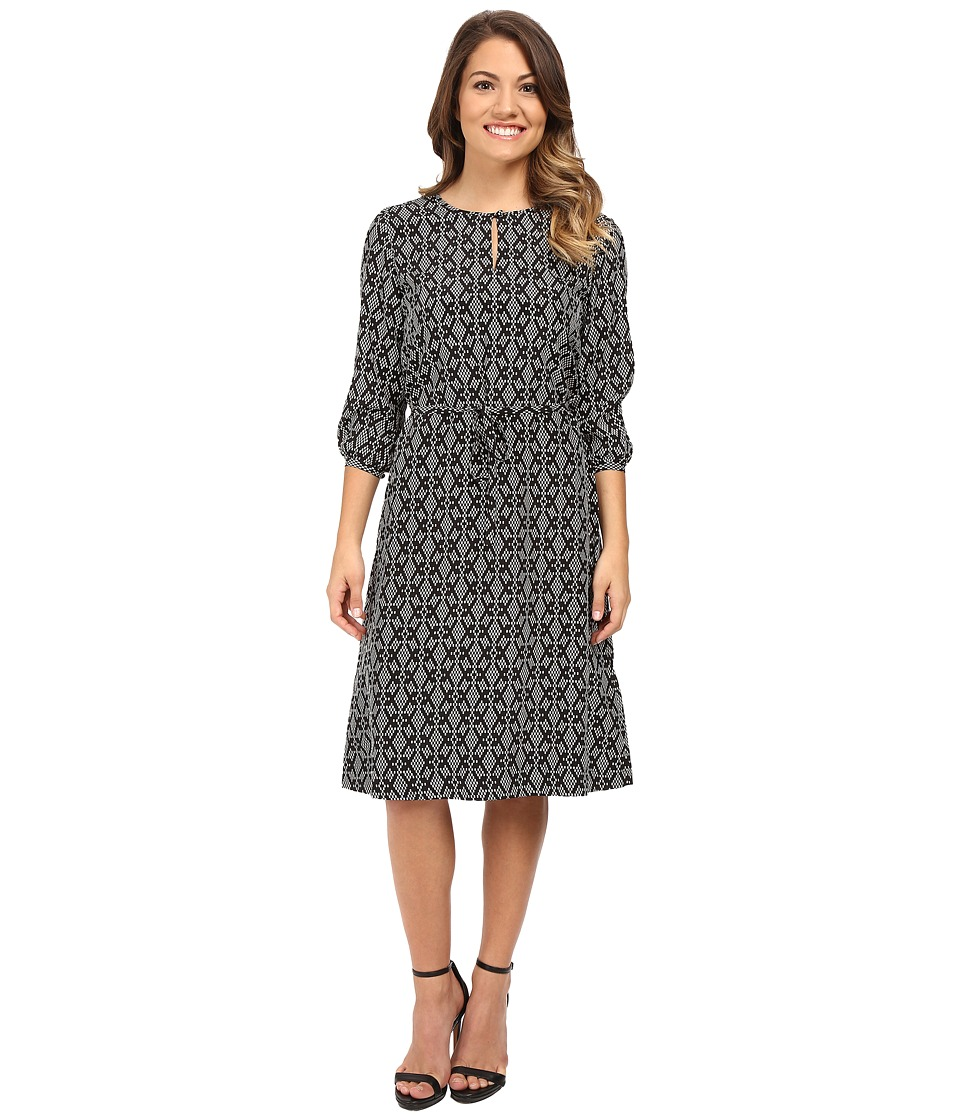 Pendleton - Petite City Shift Dress (Black/Ivory Print) Women's Dress