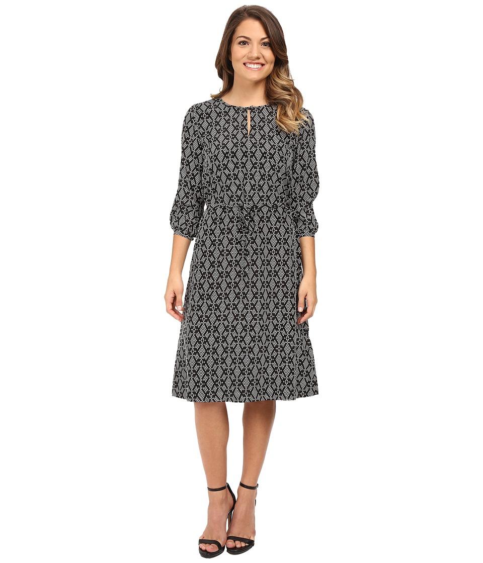 Pendleton - Petite City Shift Dress (Black/Ivory Print) Women's Dress