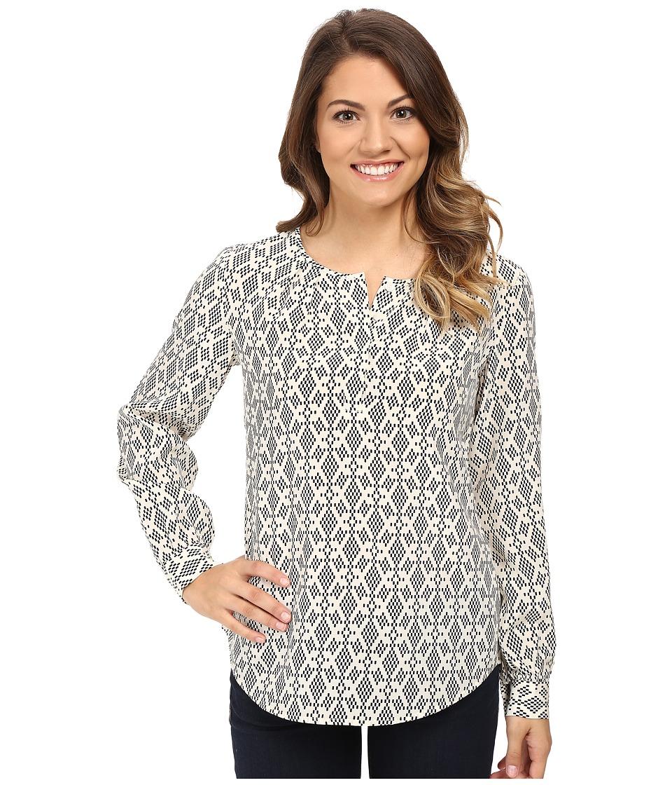 Pendleton - Petite Kelly Tunic (Ivory/Black Print) Women's Short Sleeve Pullover