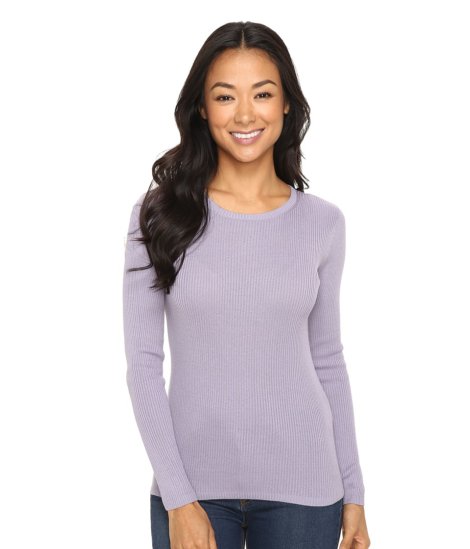 Pendleton - Petite Rib Jewel Neck Pullover (Lavender Grey) Women's Long Sleeve Pullover