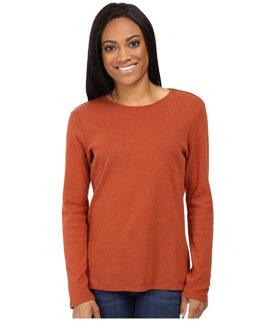 Pendleton - Petite L/S Jewel Neck Cotton Rib Tee (Arabian Spice Heather) Women's Long Sleeve Pullover
