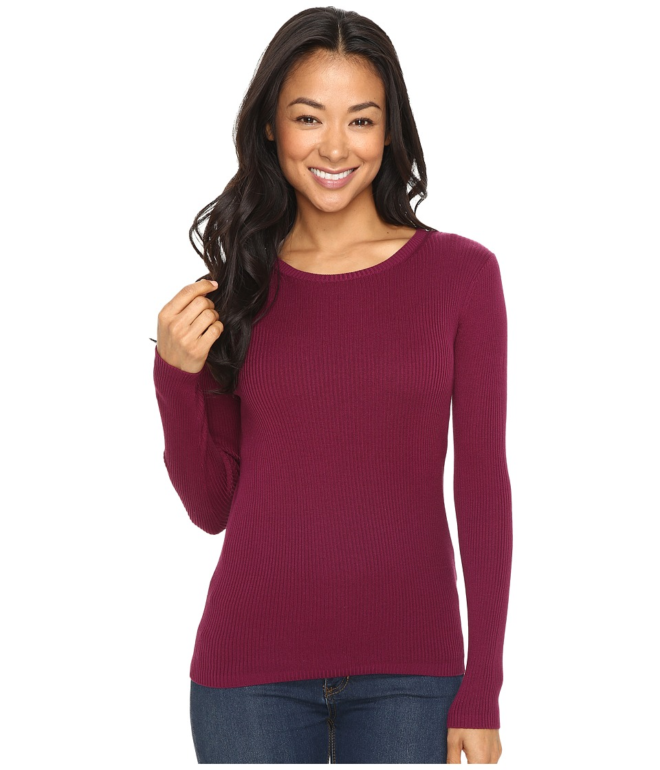 Pendleton - Petite Rib Jewel Neck Pullover (Purple Potion) Women's Long Sleeve Pullover