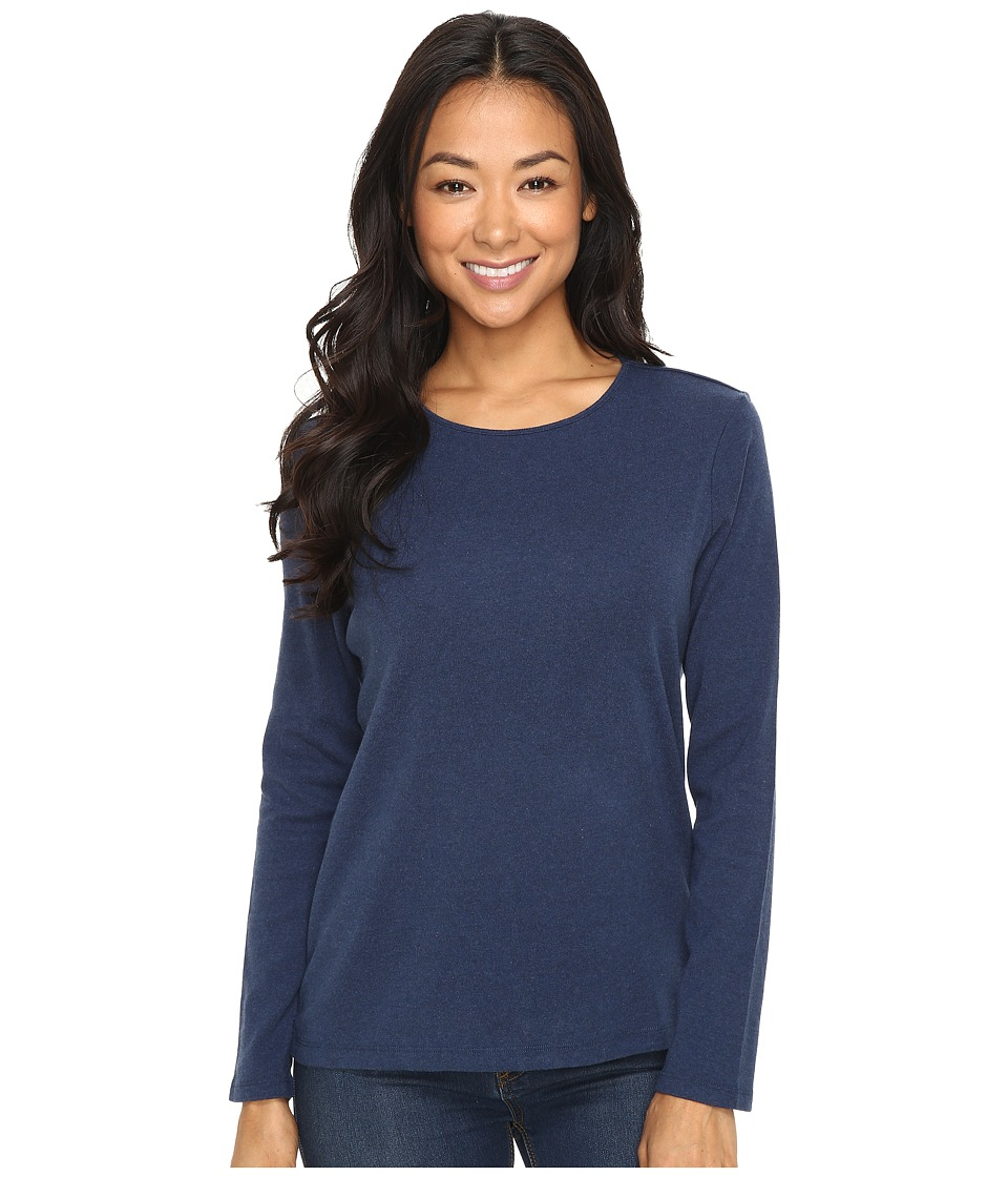 Pendleton - Petite L/S Jewel Neck Cotton Rib Tee (Tartan Navy Heather) Women's Long Sleeve Pullover