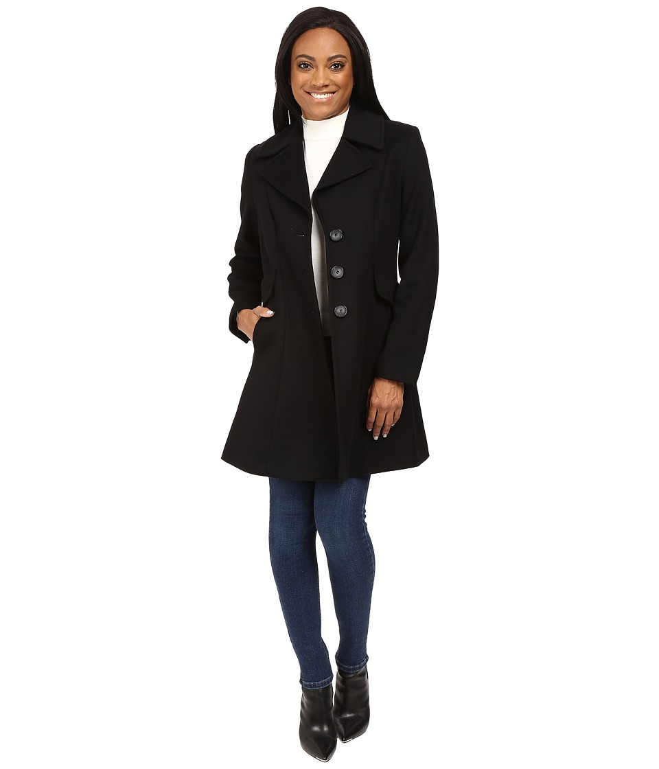 Pendleton - Petite Fit and Flare Coat (Black) Women's Coat