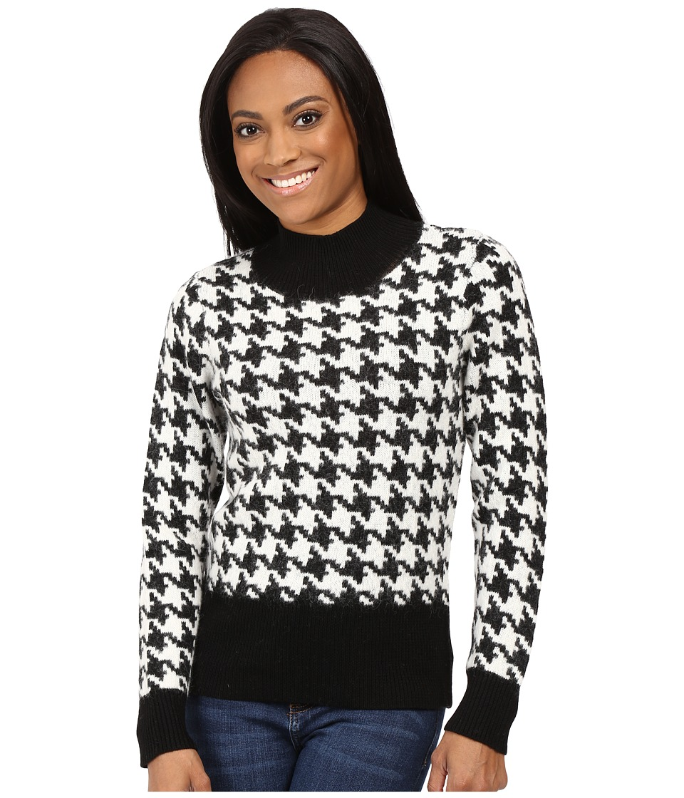 Pendleton - Petite Houndstooth Pullover (Black/Ivory) Women's Long Sleeve Pullover