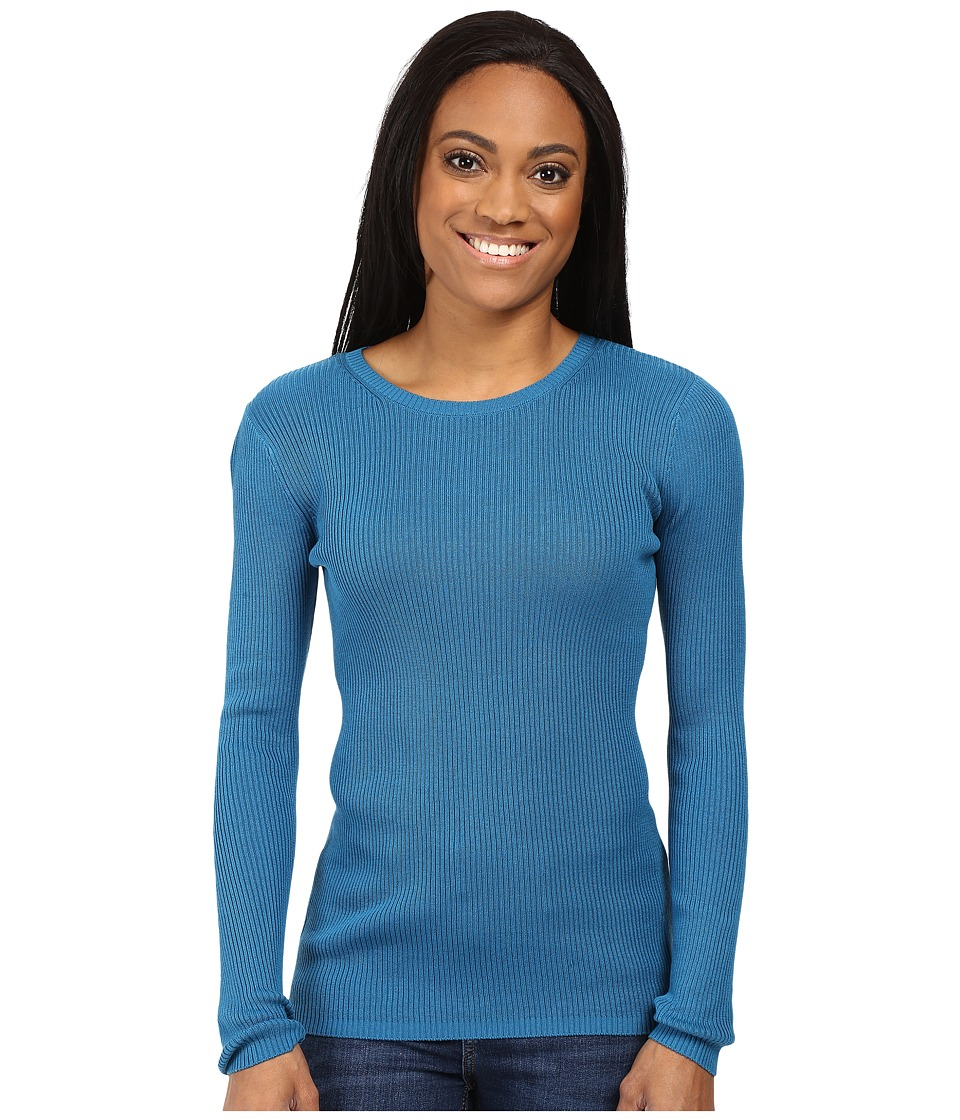 Pendleton - Petite Rib Jewel Neck Pullover (Celestial Blue) Women's Long Sleeve Pullover
