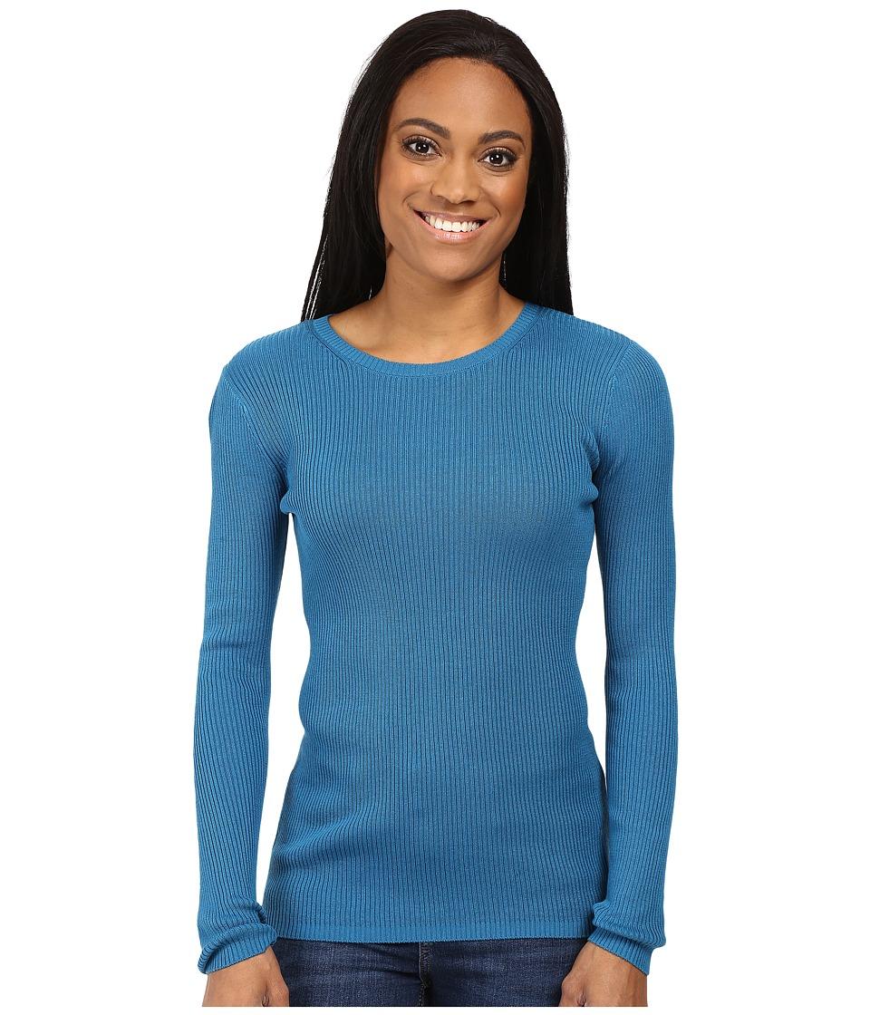 Pendleton - Petite Rib Jewel Neck Pullover (Celestial Blue) Women's Long Sleeve Pullover
