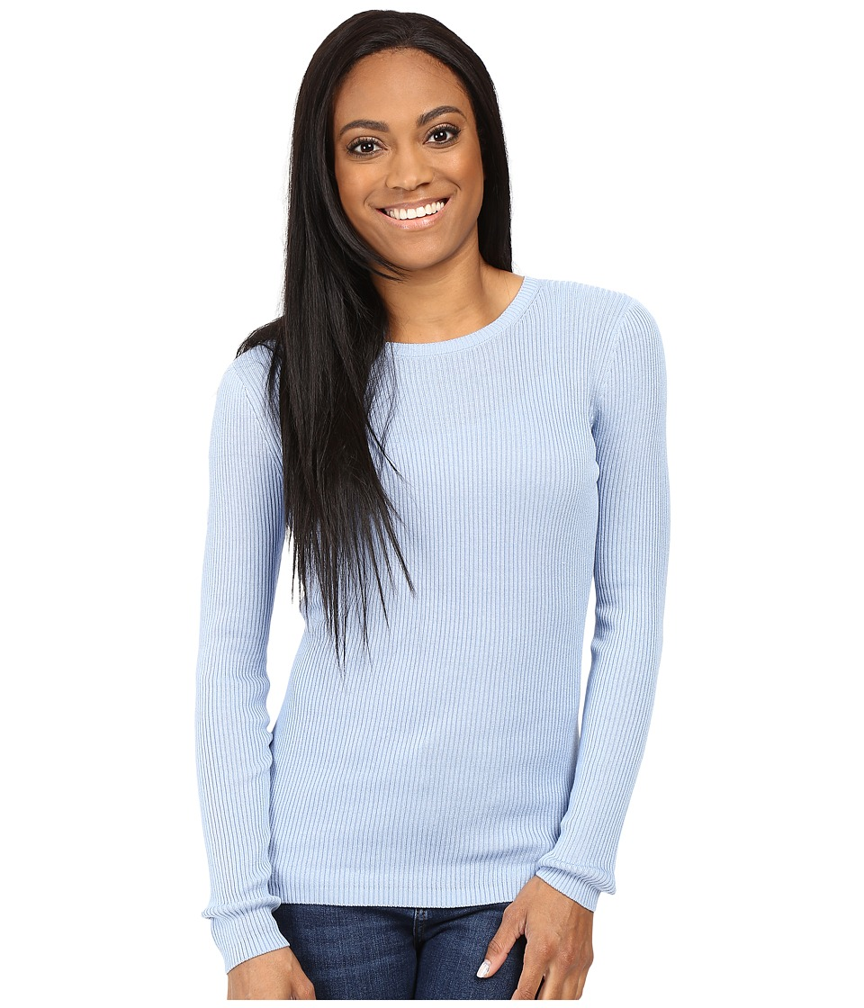 Pendleton - Petite Rib Jewel Neck Pullover (Chambray Blue) Women's Long Sleeve Pullover