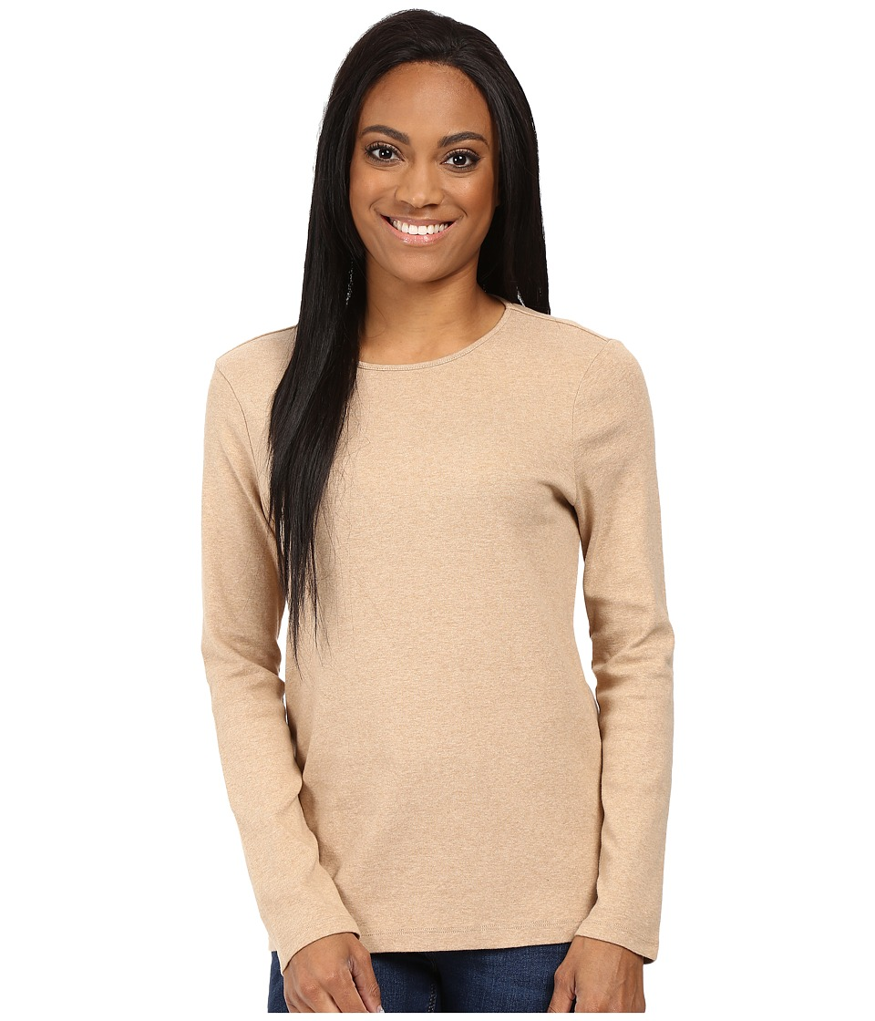 Pendleton - Petite L/S Jewel Neck Cotton Rib Tee (Camel Heather) Women's Long Sleeve Pullover