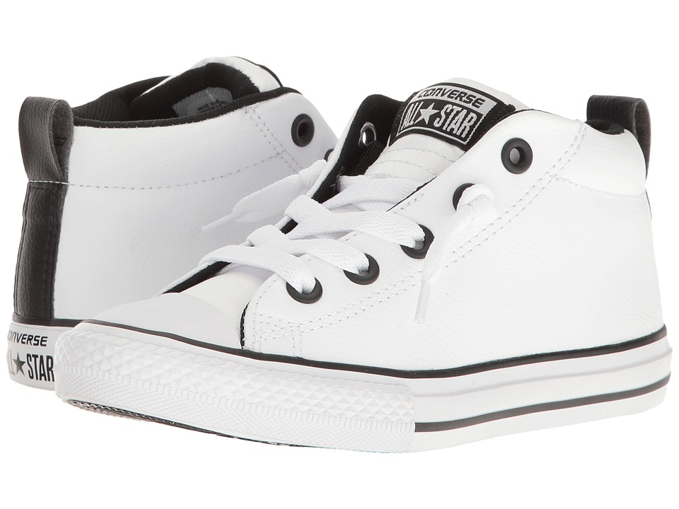 Converse Kids - Chuck Taylor All Star Street Mid (Little Kid/Big Kid) (White/White/Black) Boy's Shoes