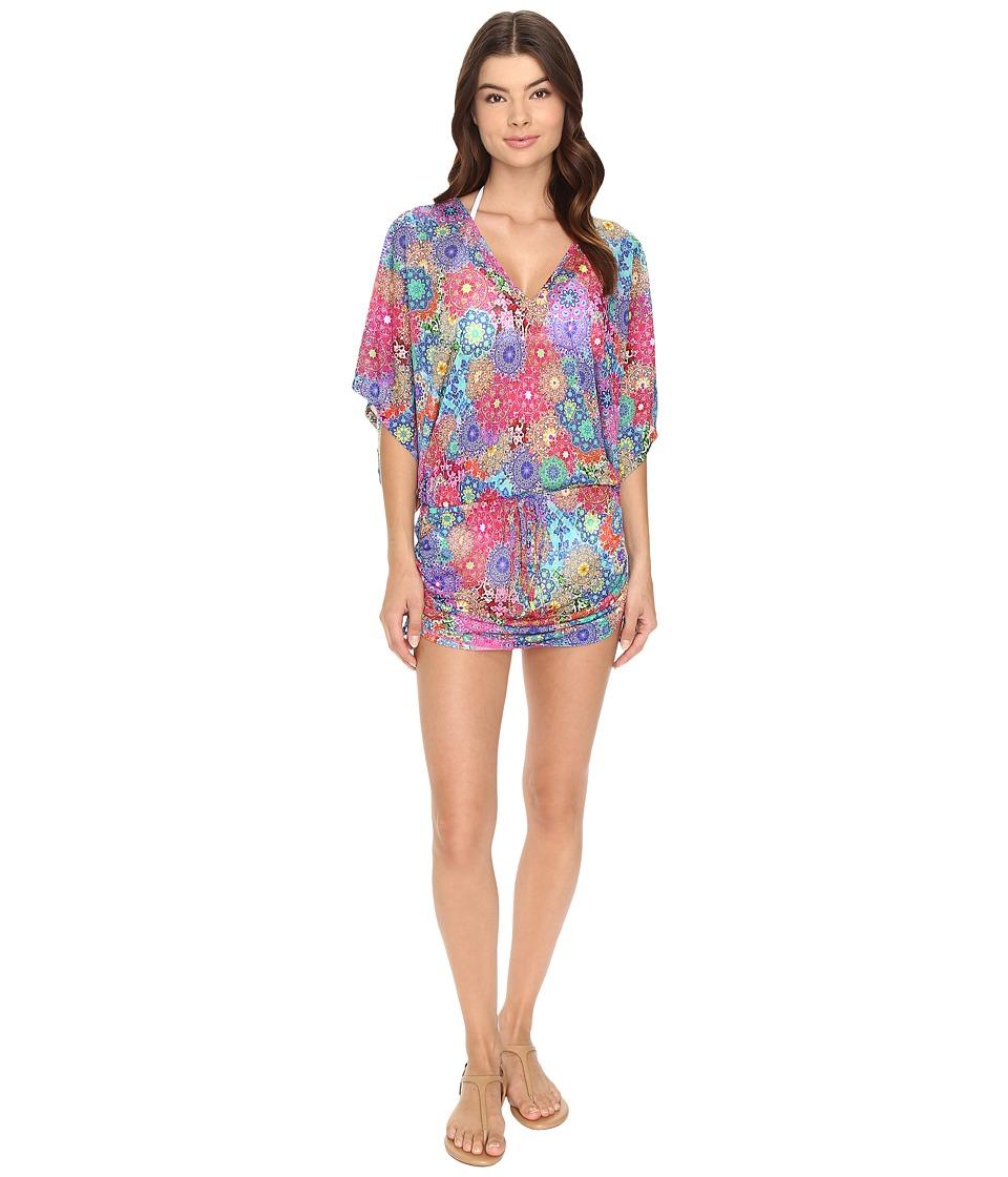 Luli Fama - Sunburst Cabana V-Neck Dress Cover-Up (Multicolor) Women's Swimwear