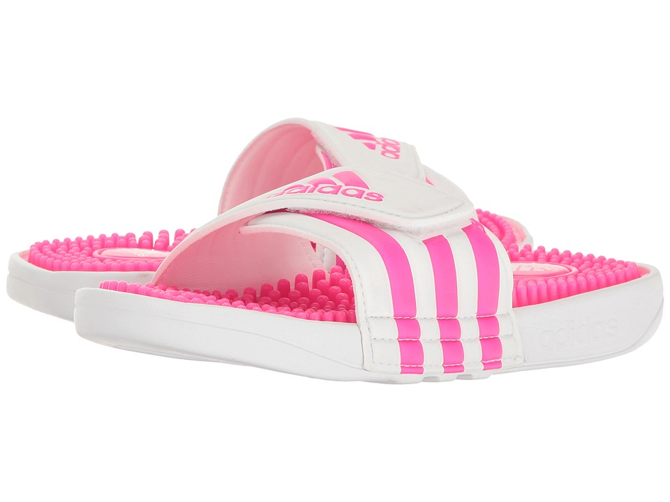 adidas Kids - Adissage (Toddler/Little Kid/Big Kid) (White/Shock Pink/Footwear White) Girls Shoes