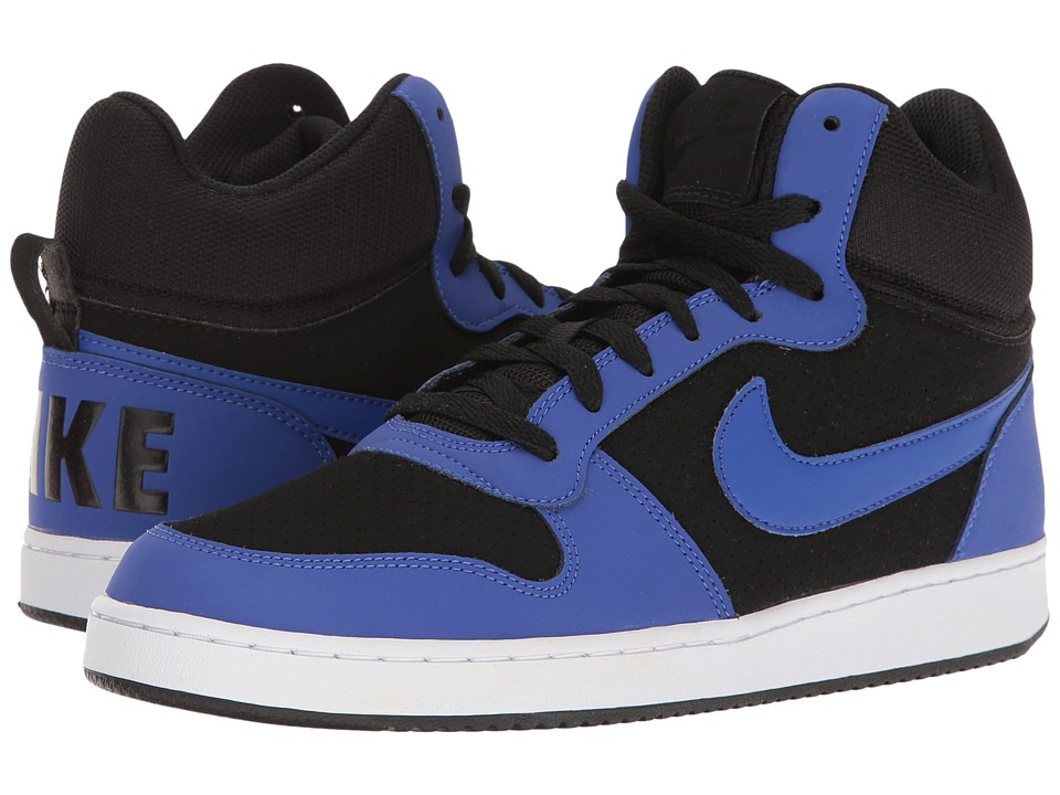 Nike - Court Borough Mid (Black/White/Paramount Blue) Men's Basketball Shoes