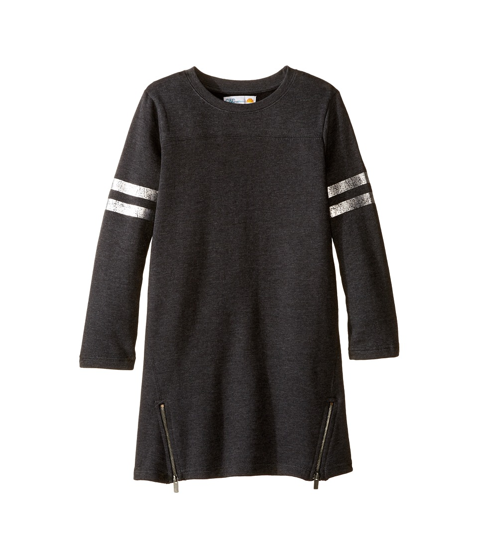 C&C California Kids - Fleece Jersey Dress with Size Zip (Little Kids/Big Kids) (Charcoal Heather) Girl's Dress