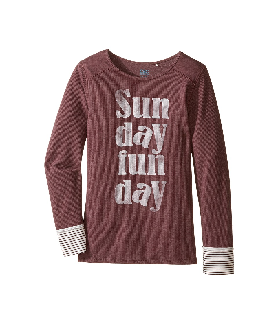C&C California Kids - Thermal/Jersey Top with Screen Print (Little Kids/Big Kids) (Berry) Girl's Clothing