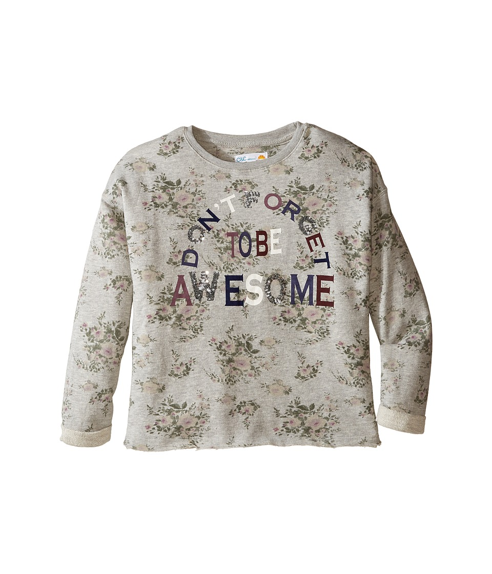 C&C California Kids - Printed Fleece Cropped Pullover (Little Kids/Big Kids) (Medium Grey Heather) Girl's Clothing
