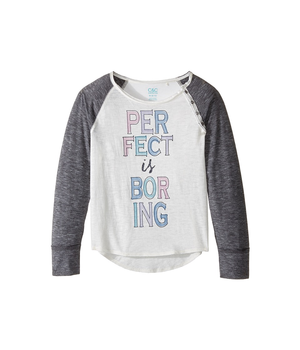 C&C California Kids - Burnout Jersey Raglan with Button Details (Little Kids/Big Kids) (Ecru) Girl's Clothing