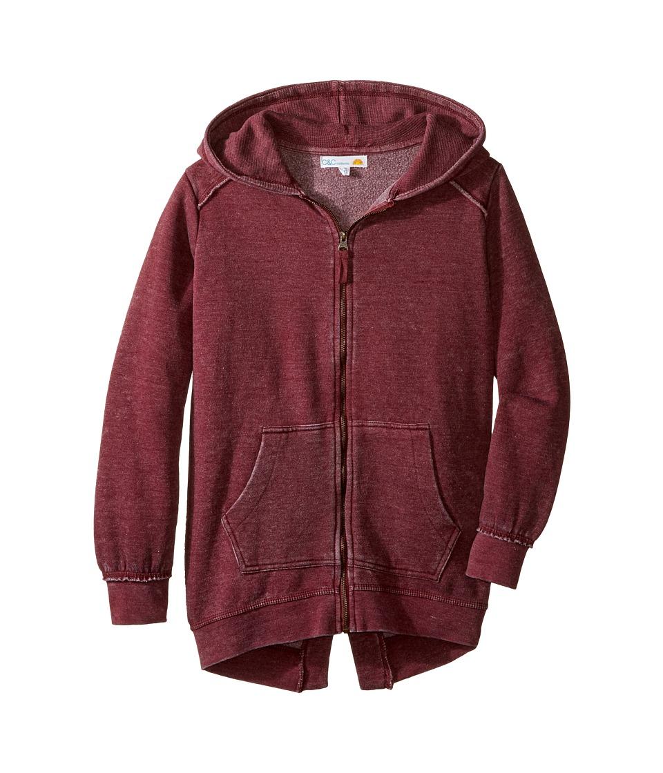 C&C California Kids - Burnout Fleece Tunic Length Thermal Hood Lining (Little Kids/Big Kids) (Berry) Girl's Clothing