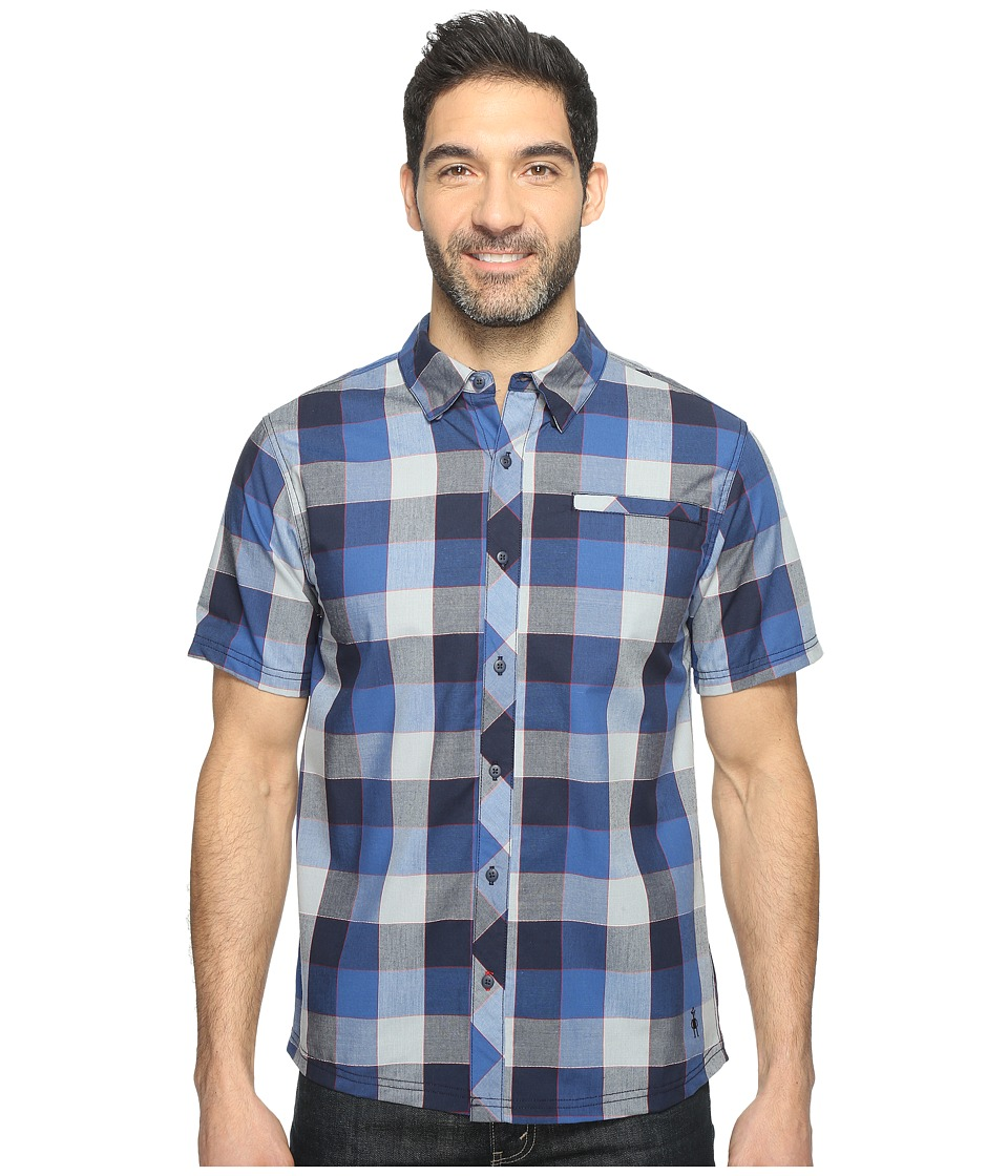 Smartwool - Summit County Retro Plaid (Dark Blue) Men's Short Sleeve Button Up