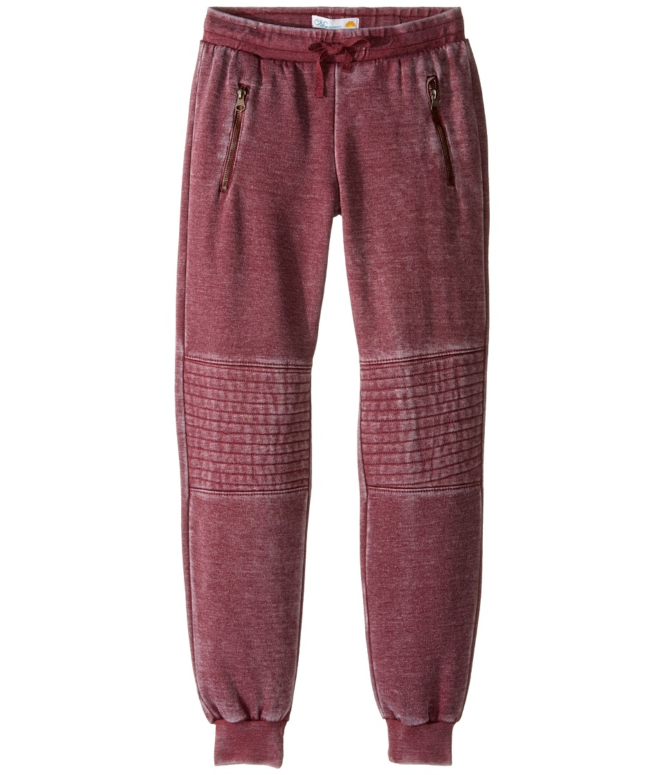 C&C California Kids - Burnout Fleece Joggers with Quilting and Exposed Zippers (Little Kids/Big Kids) (Berry) Girl's Casual Pants