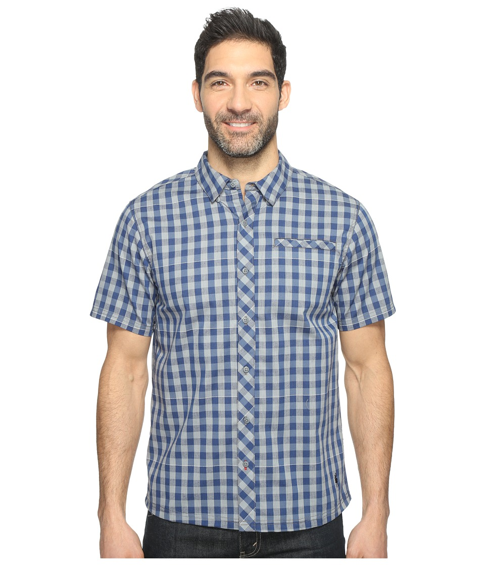 Smartwool - Summit County Gingham (Dark Blue) Men's Short Sleeve Button Up