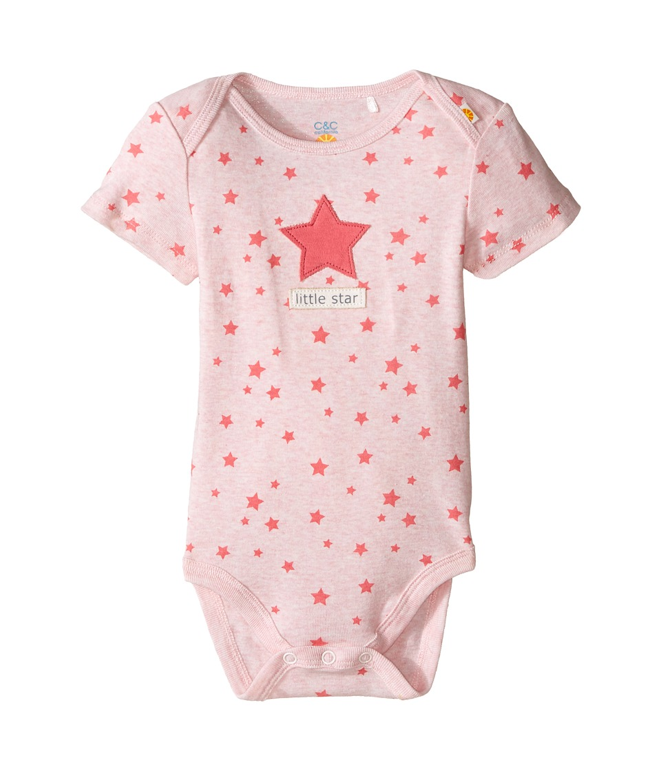 C&C California Kids - Twinkle Stars Printed Bodysuit (Infant) (Pink Bow Heather) Girl's Jumpsuit & Rompers One Piece