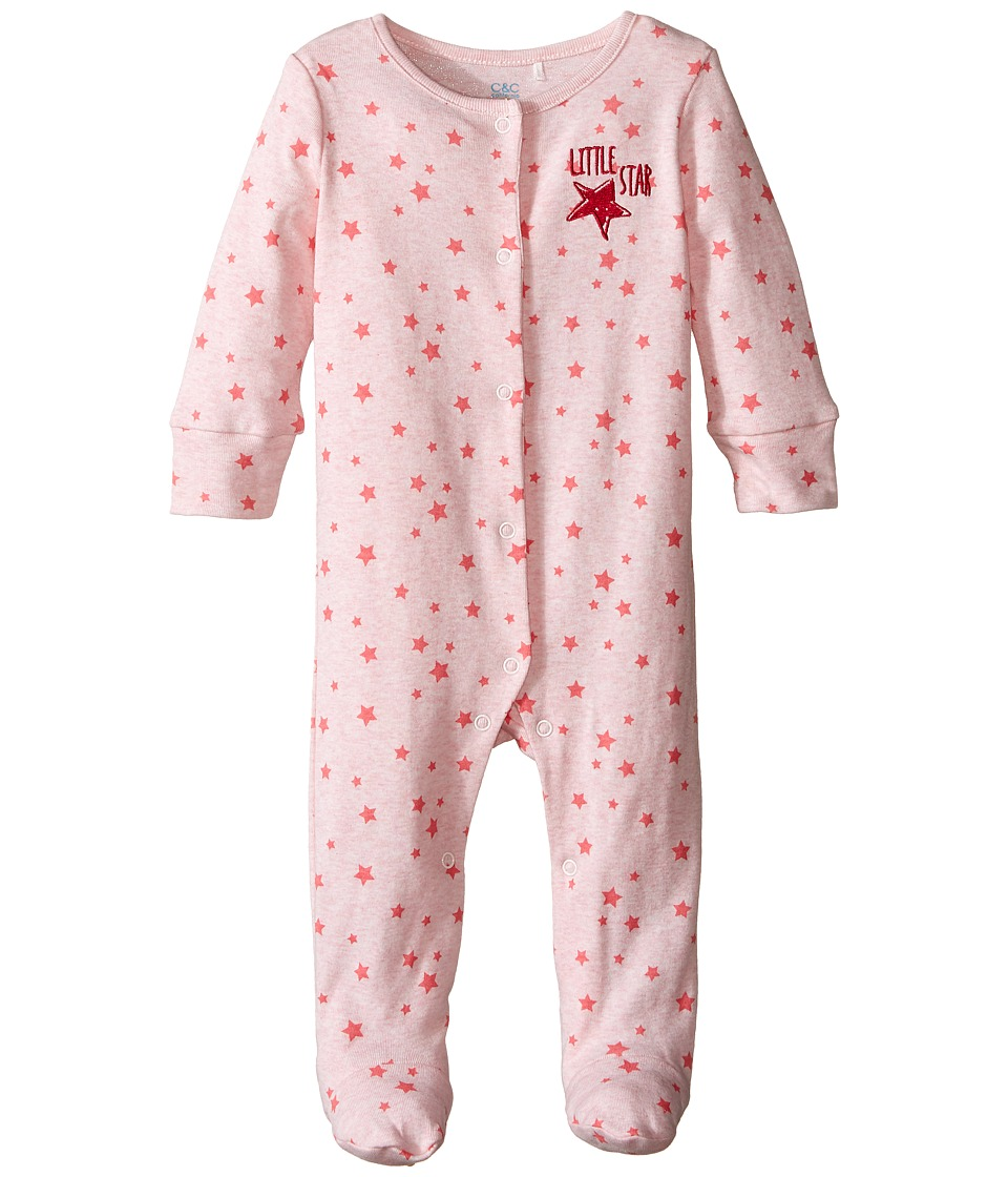 C&C California Kids - Twinkle Stars Printed Coverall (Infant) (Pink Bow Heather) Girl's Overalls One Piece
