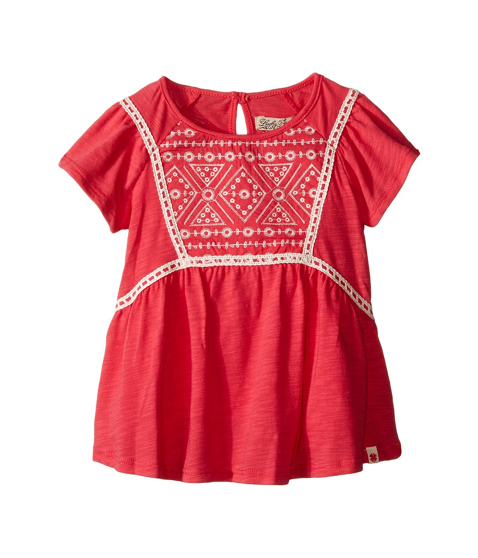 Lucky Brand Kids - Peplum Embroidered Top w/ Flowy Short Sleeves (Toddler) (Claret Red) Girl's Short Sleeve Pullover