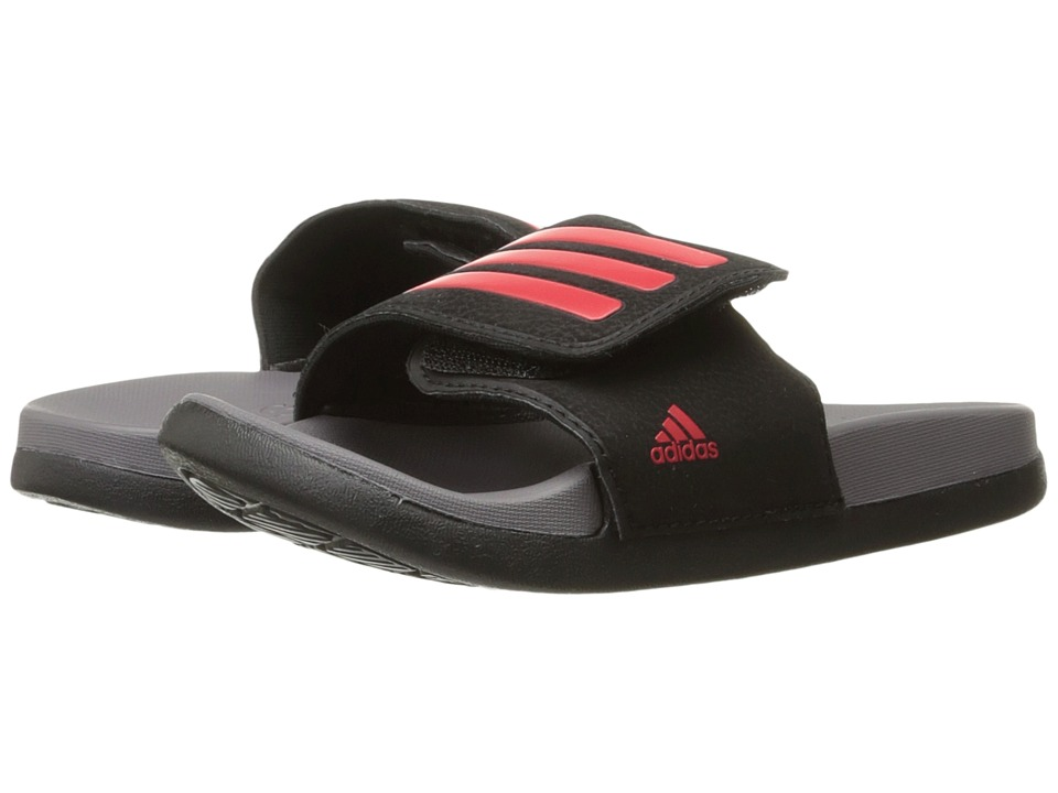 adidas Kids - Adilette CLF Ultra Adjustable (Toddler/Little Kid/Big Kid) (Core Black/Energy Blue/Trace Grey) Kids Shoes