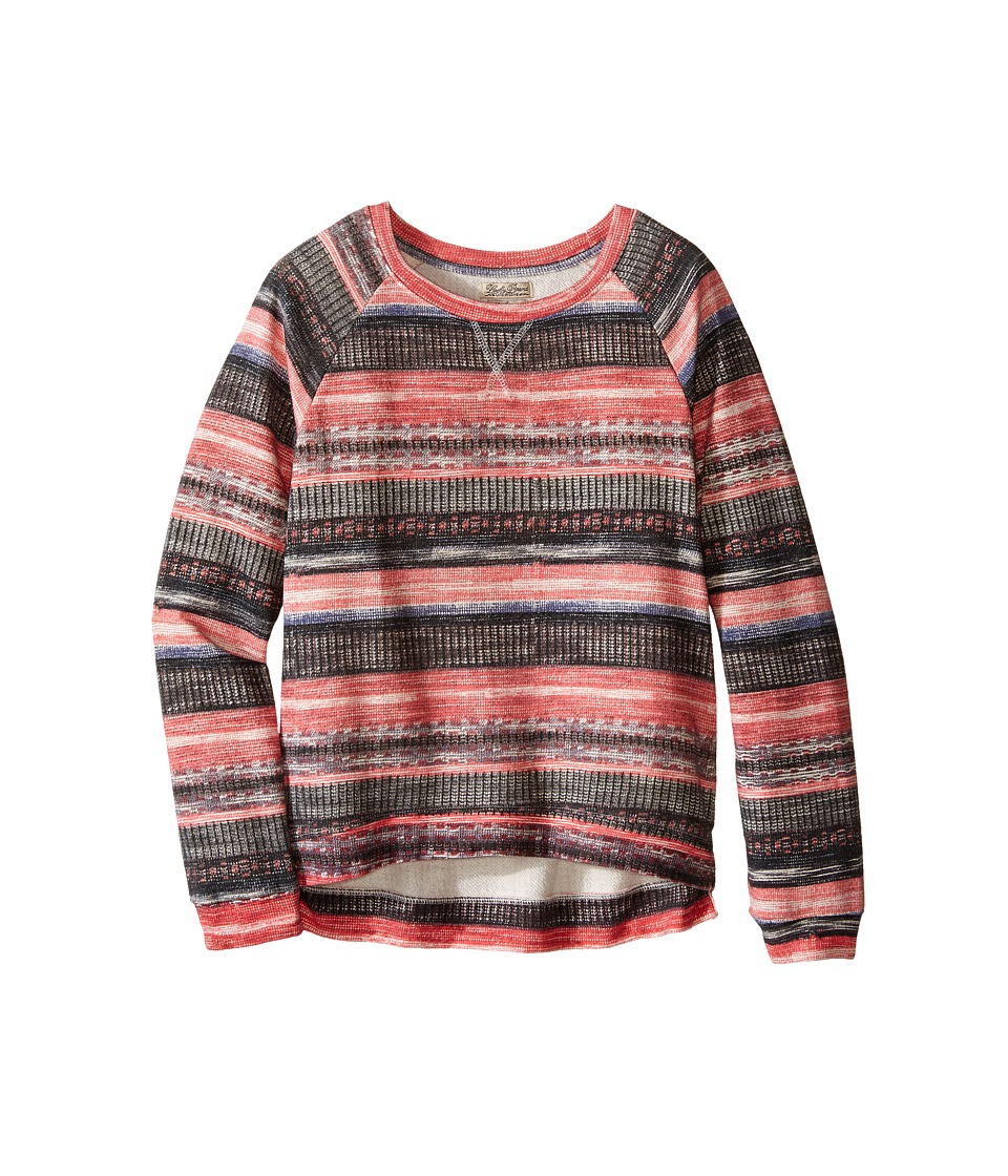 Lucky Brand Kids - Printed Striped Sweatshirt in Burnout Baby Terry (Big Kids) (Claret Red) Girl's Sweatshirt