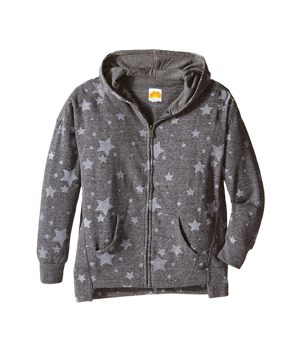 C&C California Kids - Star Printed Hoodie (Little Kids/Big Kids) (Dark Grey Heather) Girl's Clothing