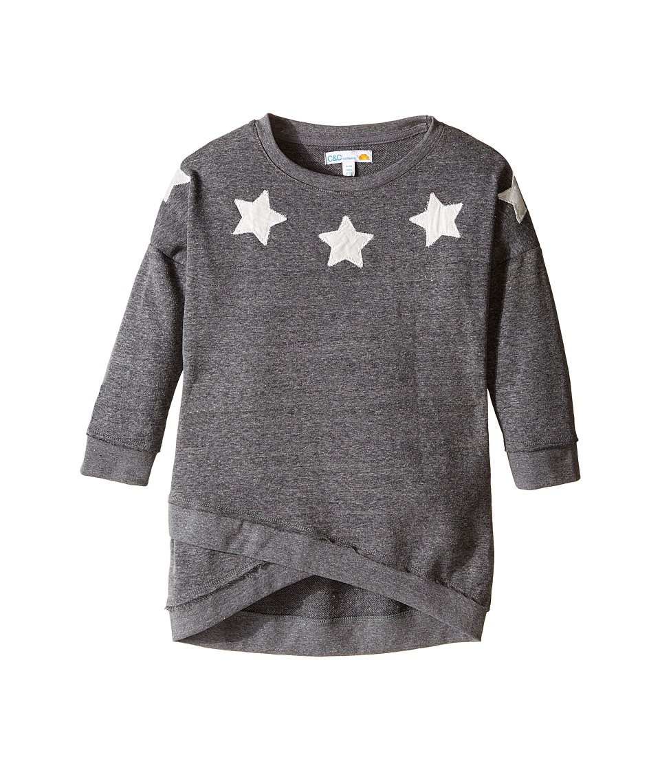 C&C California Kids - French Terry Cross Front Boat Neck Top (Little Kids/Big Kids) (Dark Grey Heather) Girl's Clothing