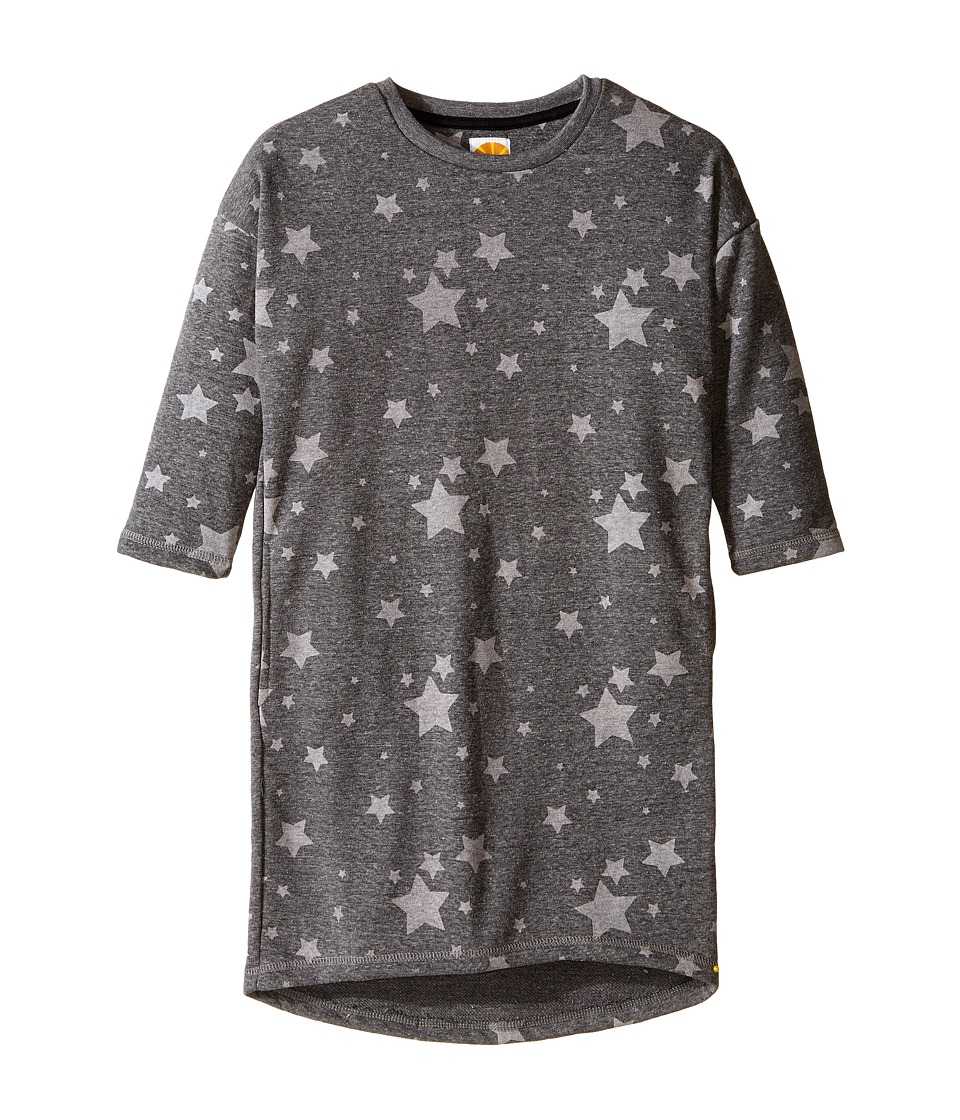 C&C California Kids - French Terry Cocoon Dress with Star Print (Little Kids/Big Kids) (Dark Grey Heather) Girl's Dress
