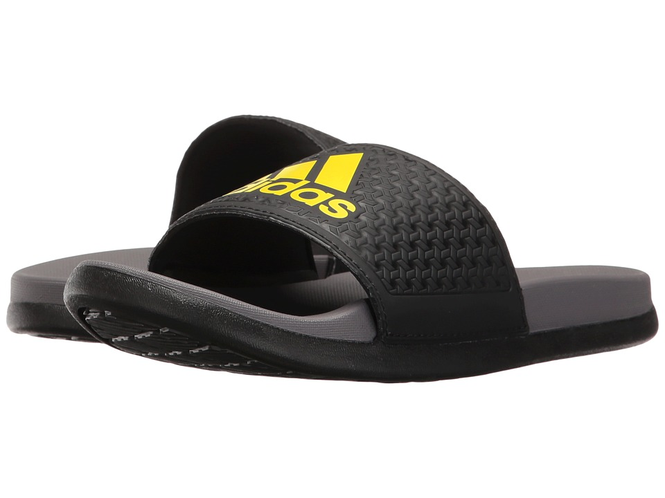adidas Kids - Adilette SC Plus Logo (Toddler/Little Kid/Big Kid) (Black/Trace Grey/Bright Yellow) Boys Shoes