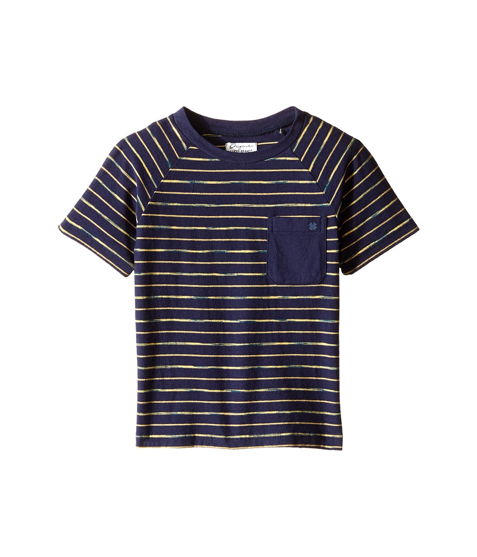 Lucky Brand Kids - Space Dye Striped Tee w/ Front Pocket (Toddler) (Mood Blue) Boy's T Shirt