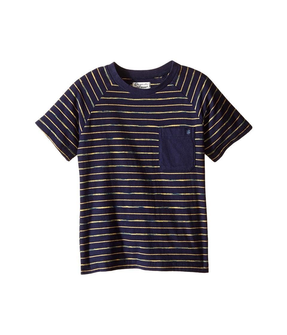 Lucky Brand Kids Space Dye Striped Tee w/ Front Pocket (Little Kids/Big Kids) (Mood Blue) Boy
