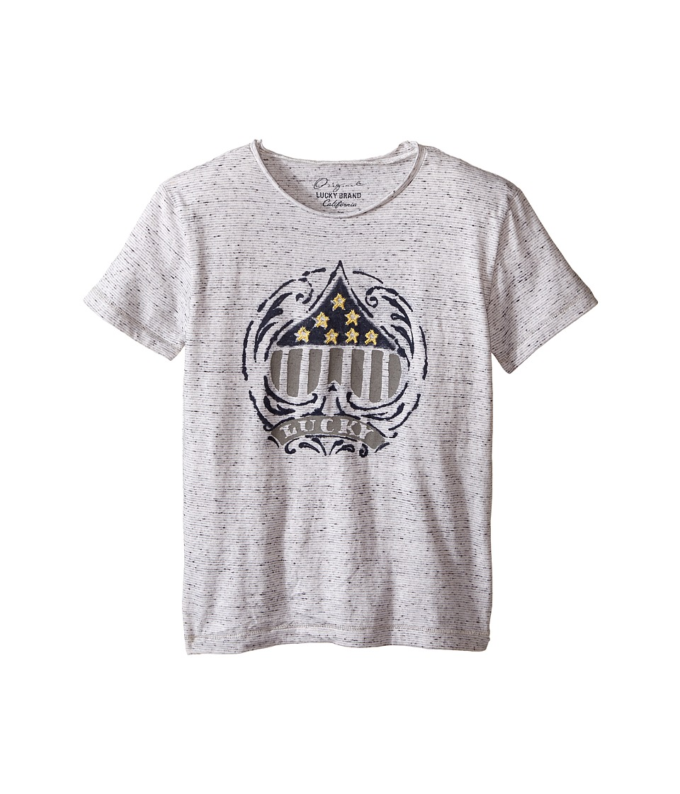 Lucky Brand Kids - Slub Jersey Tee w/ Spade Star Embroidered Screen Print (Little Kids/Big Kids) (White) Boy's T Shirt