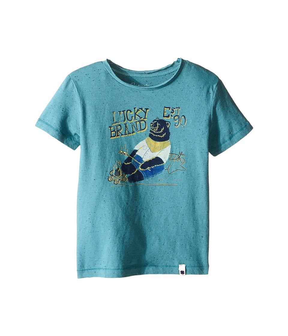 Lucky Brand Kids Fleck Heathered Tee w/ Lucky Bear Screen Print (Toddler) (Brittany Blue) Boy