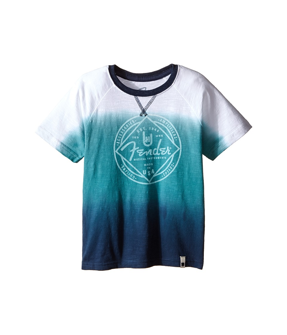 Lucky Brand Kids Ombre Tee w/ Fender Logo and Contrast Colored Ringer Neck (Toddler) (Brittany Blue) Boy