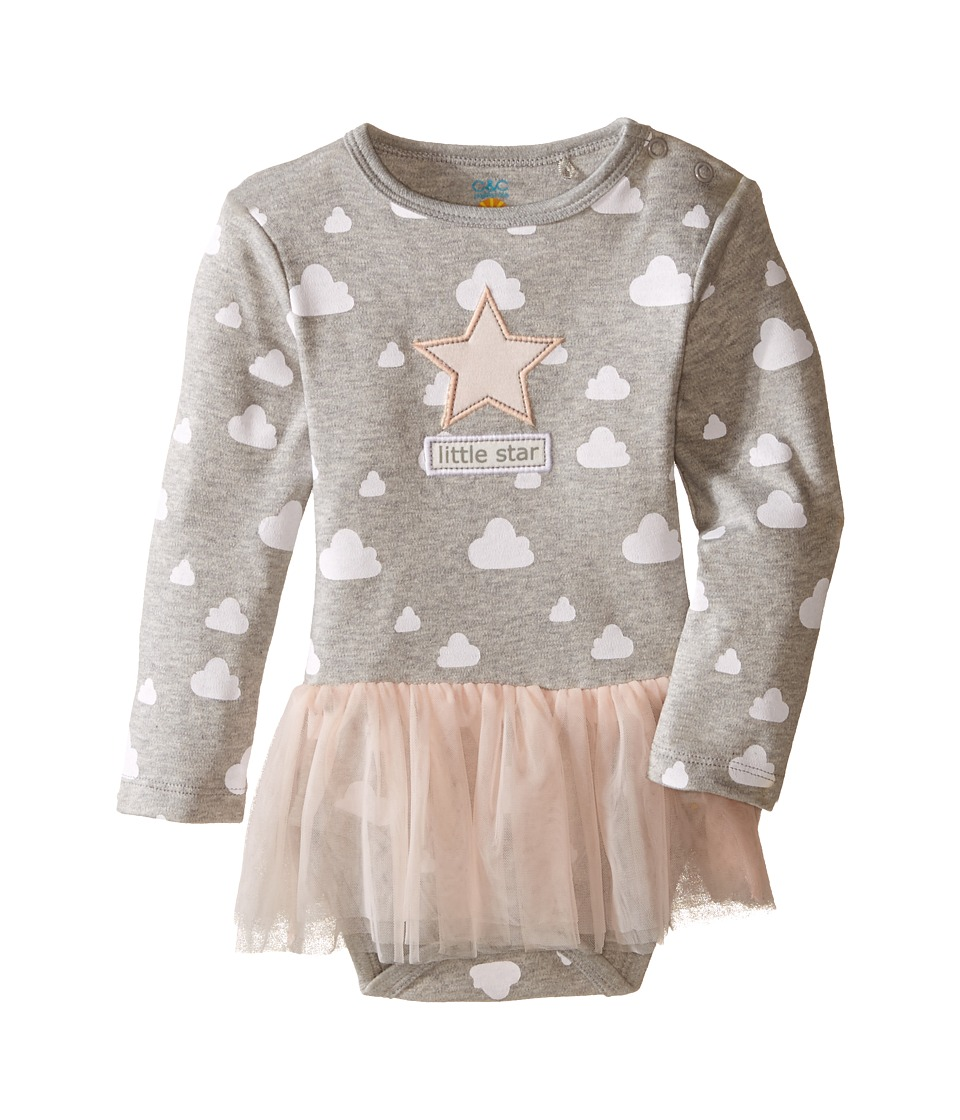C&C California Kids - Tulle Ruffle Layered Dress Bodysuit (Infant) (Light Grey Heather) Girl's Jumpsuit & Rompers One Piece