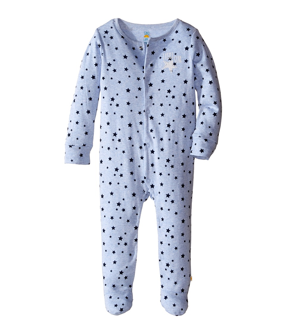 C&C California Kids - Stars Printed Fitted Coveralls (Infant) (Brisk Blue Heather) Boy's Overalls One Piece