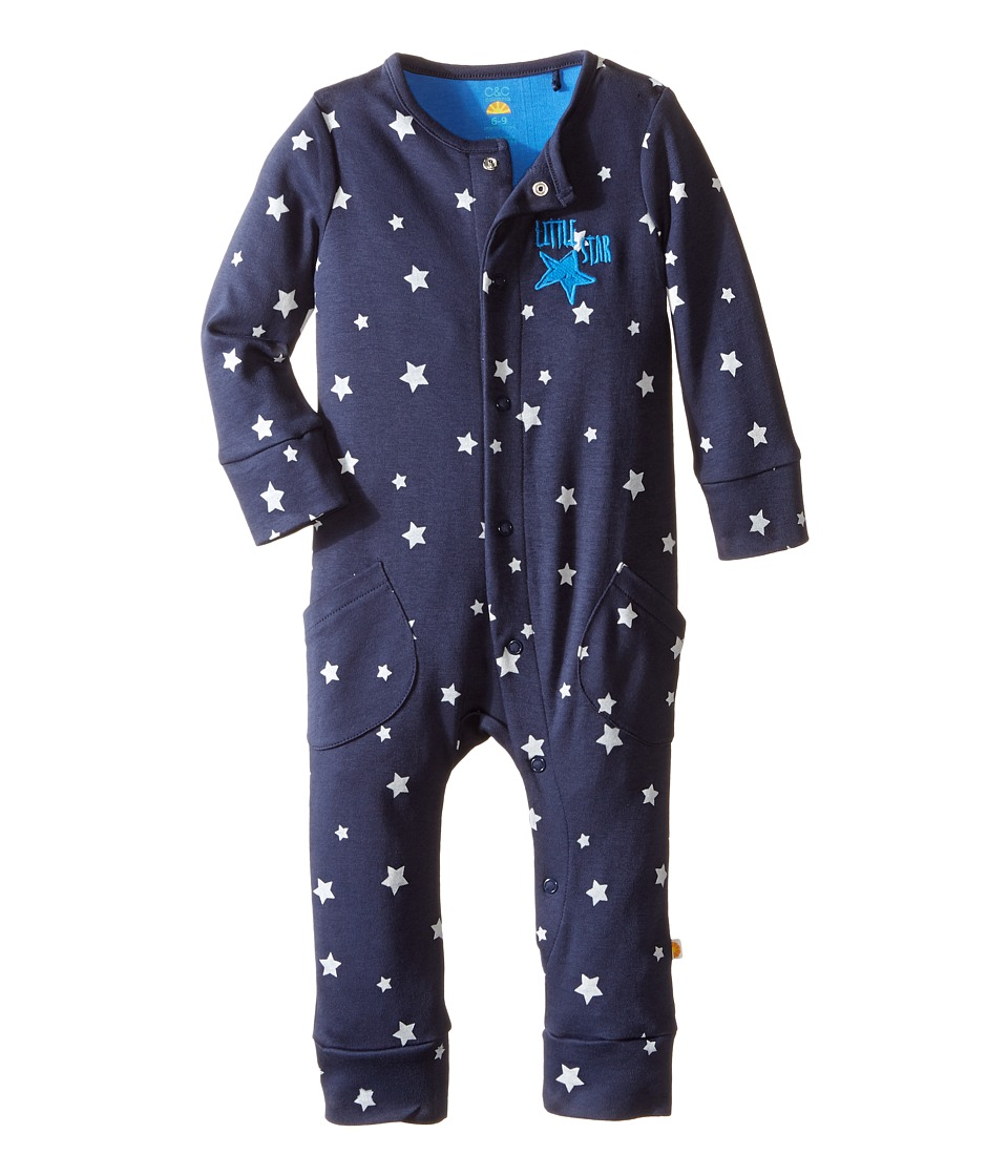 C&C California Kids - Big Stars Printed Coveralls (Infant) (Polo Navy) Boy's Overalls One Piece