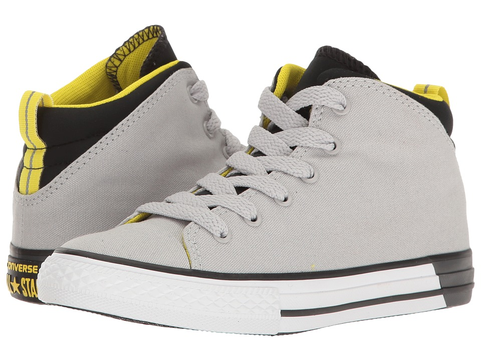 Converse Kids - Chuck Taylor All Star Official Mid (Little Kid/Big Kid) (Ash Grey/Black/White) Boy's Shoes
