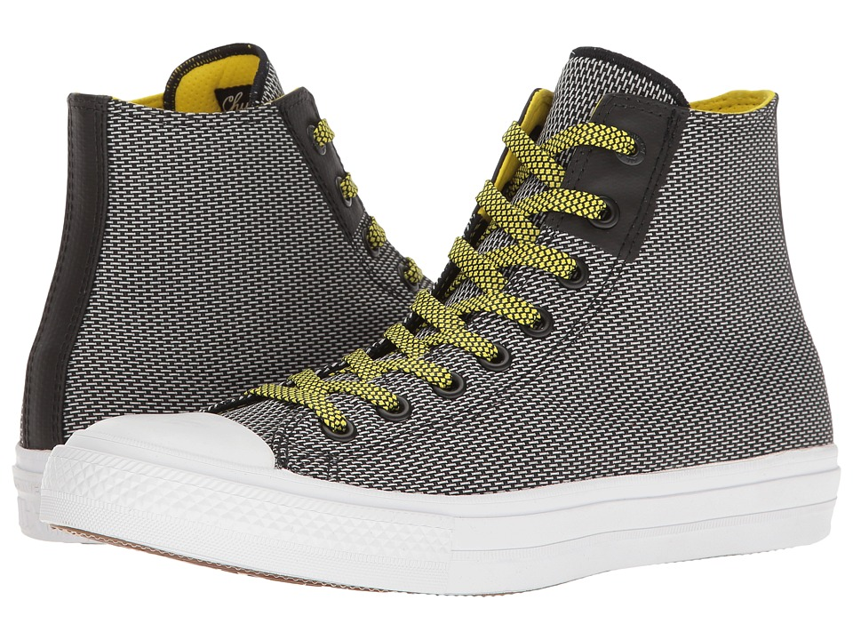 Converse Chuck Taylor All Star Chuck II Woven Hi (Black/White/Fresh Yellow) Classic Shoes