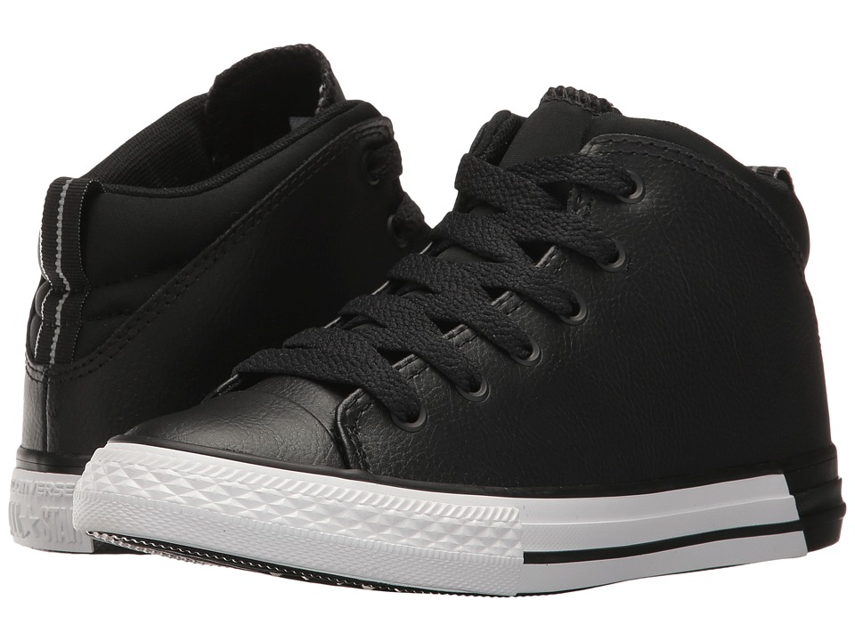 Converse Kids - Chuck Taylor All Star Official Mid (Little Kid/Big Kid) (Black/Black/White) Boys Shoes