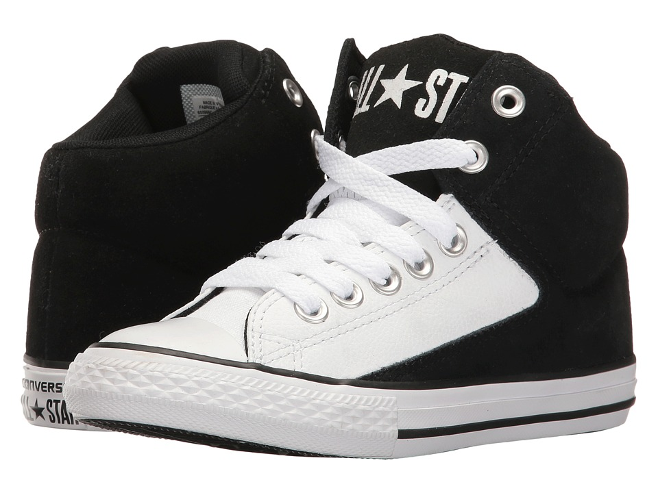 Converse Kids Chuck Taylor All Star High Street Hi (Little Kid/Big Kid) (Black/White/White) Boy
