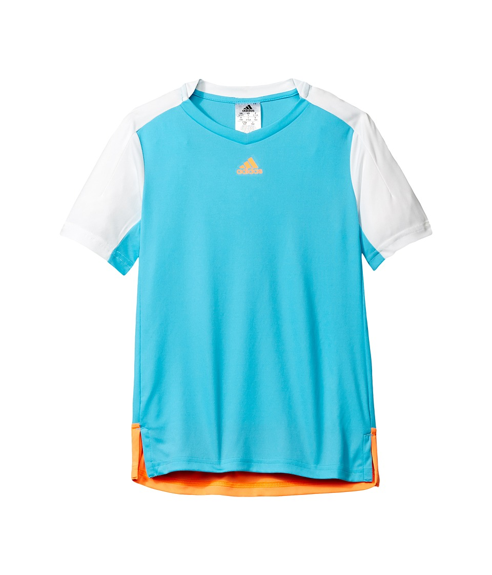 adidas Kids - Melbourne Line Tee (Little Kids/Big Kids) (Samba Blue/White/Glow Orange) Boy's T Shirt